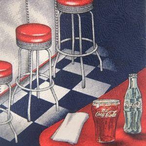 Coca Cola Mens Necktie Diner Stools Novelty Tie